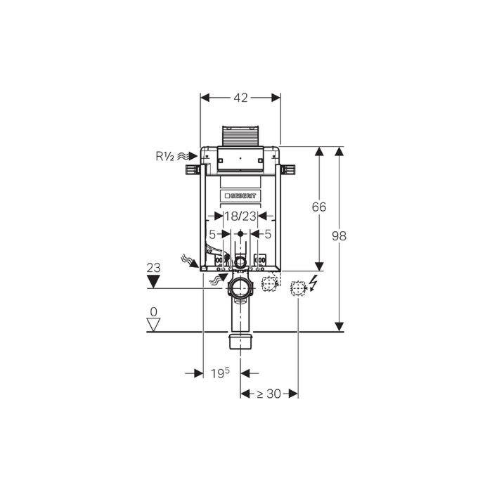 Geberit Wand-WC-Element Kombifix 110010001 Bauhöhe 98 cm, mit Omega  UP-Spülkasten
