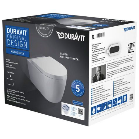 Duravit ME by Starck WC Rimless® set 45290900A1, white, with WC and seat