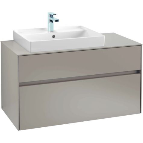 Villeroy & Boch Collaro vanity unit C017L0PD 100x54.8x50cm,  with LED, basin on the left, Black Matt Laquer