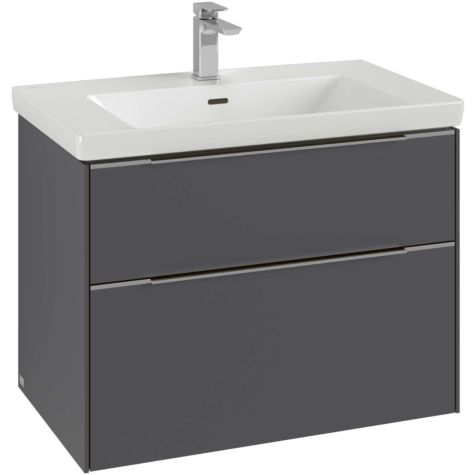 Villeroy and Boch Subway 3.0 vanity unit C57400VE 77.2x57.6x47.8cm, without LED / handle aluminum glossy, brilliant white