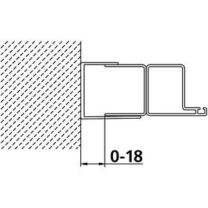 Kermi rallonge de Kermi Ibiza 2000 SVK hauteur 185 mm, argent / brillant mat, pour porte battante