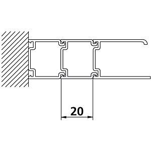 rallonge de Kermi Ibiza 2000 SVP hauteur 185 cm, argent / brillant mat pour porte battante