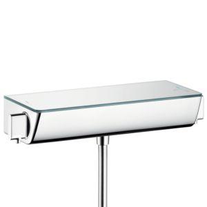 hansgrohe Ecostat Select Brausethermostat 13161400 weiss chrom, ESG Glasablage