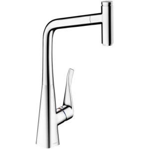 hansgrohe Metris Select 320 Küchenarmatur 14884000 chrom, schwenkbar, herausziehbarer Auslauf 150°