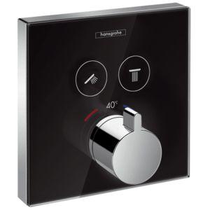 hansgrohe ShowerSelect Glas Thermostat 15738600 Unterputz, 2 Verbraucher, schwarz chrom