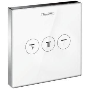 hansgrohe ShowerSelect Unterputzventil 15736400 3 Verbraucher, Glas weiß-chrom