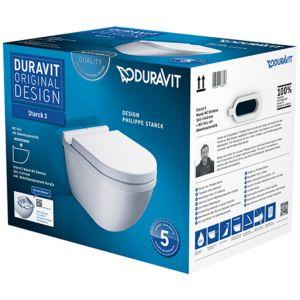 Duravit Starck 3 Wand-WC Rimless® Set 45270900A1 rimless, mit Sitz und Bestigungssystem Durafix
