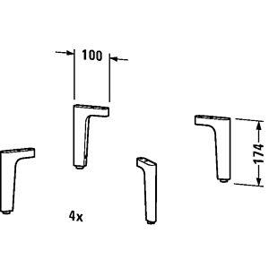 Duravit Happy D.2 Sockelfuß UV991900000 4 Stück, chrom