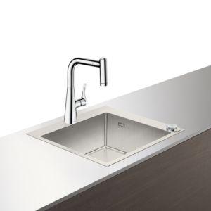Hansgrohe Select C71-F450-01 Spülencombi 43207800 edelstahl-optik, mit sBox, 1 Hauptbecken