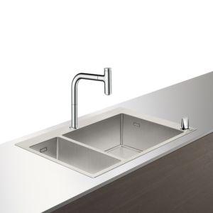 Hansgrohe Select C71-F655-09 Spülencombi 43206800 edelstahl-optik, 1 Haupt- und Zusatzbecken