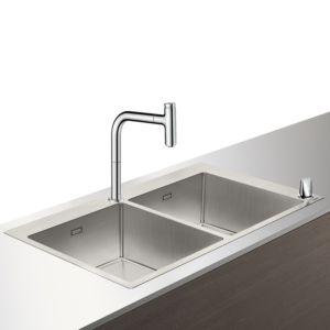 Hansgrohe Select C71-F765-10 Spülencombi 43203000 chrom, mit sBox, 2 Hauptbecken