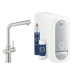Grohe Blue Home Küchenarmatur 31454DC1 supersteel, L-Auslauf, Starter Kit