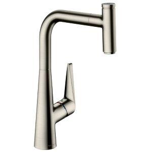 hansgrohe Talis Select S M5115-H300 Küchenarmatur 73853800, Edelstahl-Optik, Ausziehauslauf, sBox