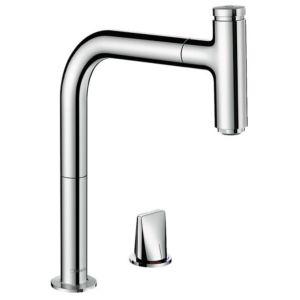 hansgrohe Metris Select M7119-H200 Küchenarmatur 73804000, chrom, 2 Loch, Ausziehauslauf, mit sBox