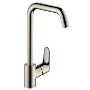 hansgrohe Focus E² kitchen mixer 31820800 swiveling spout, Stainless Steel optics