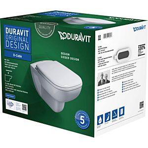 Duravit D-Code Wand Tiefspül WC 45700900A1 weiss, Set mit WC und WC-Sitz, rimless