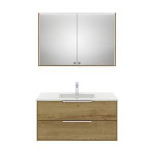 Artiqua Badmöbel Set Serie 842 Eiche Halifax Waschtisch+Unterschrank+Spiegelschrank 1014mm