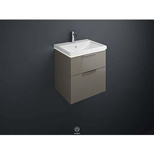 Burgbad Eqio LED Keramik-Waschtisch Unterschrank-Set SEZA063F2010001 63 x 66,5 x 49 cm, Grau Hochglanz, 1 Schublade/Auszug, Waschtisch weiß