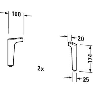 Duravit Happy D.2 Sockelfuß UV991800000 2 Stück, chrom
