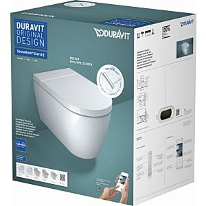 Duravit Starck wall-mounted washdown- WC 650001012004310 38.7 x 57.5 cm, for SensoWash , rimless, white