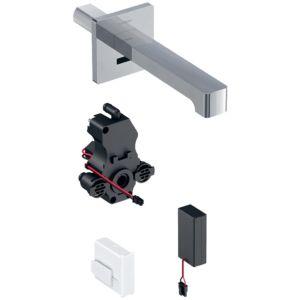 Geberit Brenta Infrarot-Waschtischarmatur 116273211 Wandmontage, Batteriebetrieb, UP-Funktionsbox, hochglanz-verchromt, ohne Mischer, 17cm