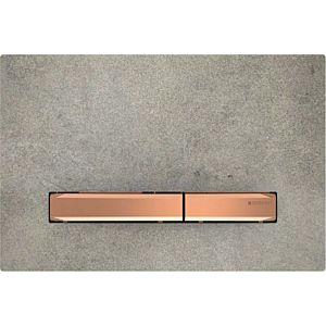 Geberit Sigma Betätigungsplatte 115670JV2 Deckplatte Betonoptik, Platte/Taste rotgold, für 2-Mengen-Spülung
