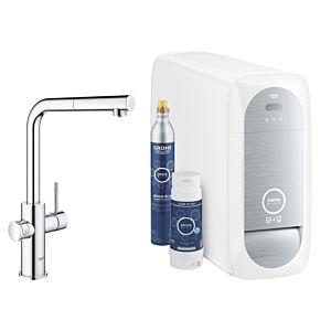 Grohe Blue Home single lever kitchen tap 31539000 chrome, L-spout starter kit, pull-out mousseur spout