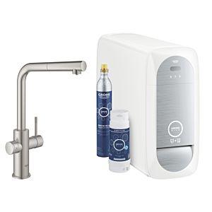 Grohe Blue Home single-lever sink mixer 31539DC0 Supersteel, L-spout starter kit, pull-out mousseur spout