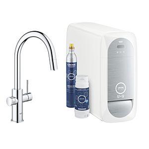 Grohe Blue Home single-lever sink mixer 31541000 chrome, C-spout starter kit, pull-out mousseur spout