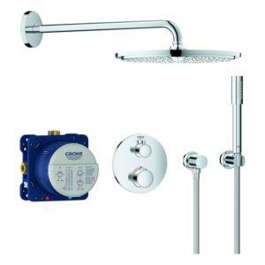 Grohe Grohtherm Duschsystem 34731000 chrom, mit Unterputz-Thermostat, Brausearm 422mm