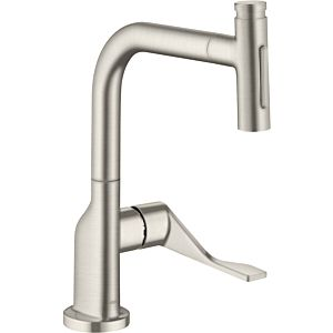 hansgrohe Select single-lever sink mixer 39863800 with pull-out spray, Stainless Steel