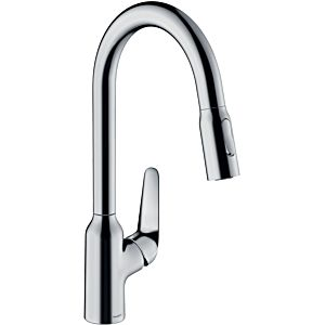 hansgrohe single lever sink mixer 71800000 with pull-out spray, swivel range 360 °, chrome