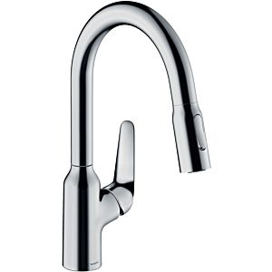 hansgrohe Focus single-lever sink mixer 71801000 with pull-out spray, swivel range 360 °, chrome