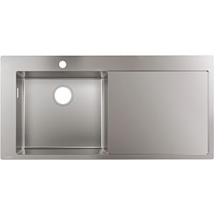 hansgrohe 450 built-in sink 43331800 1025 x 490 mm, 2000 main 2000 left, drainer right, Stainless Steel