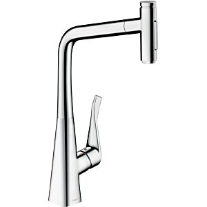 hansgrohe Metris Select 2-hole single-lever sink mixer 73820000 chrome, swiveling pull-out spout, 2jet, sBox