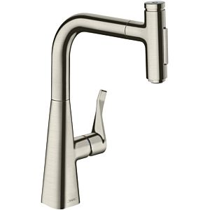 hansgrohe Metris Select single-lever sink mixer 73817800 with pull-out spray, 2jet, sBox, stainless steel look