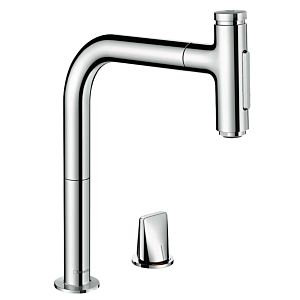 hansgrohe Metris Select 2-hole sink mixer 73819000 chrome, 2jet, pull-out spray