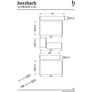 Herzbach Logic UP extension 11.081600. 2000 chrome, 30 mm, pour thermostats