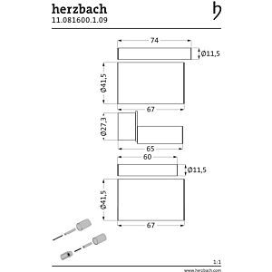 Herzbach Logic UP extension 11.081600. 2000 .09 brushed stainless steel, 30mm, for thermostats