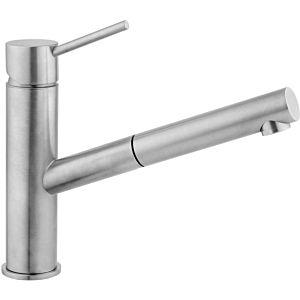 Herzbach Design iX Küchenarmatur 17136000109 edelstahl, Ausladung 21,5 cm, mit Ausziehbrause