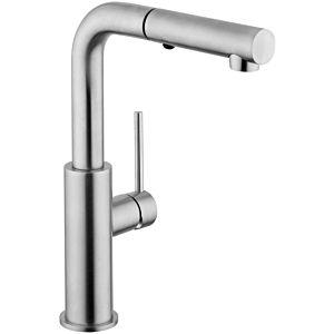 Herzbach Design iX Spültischarmatur 17136090109  edelstahl, Ausladung 181 mm, Brausekopf ausziehbar