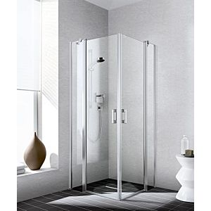 Kermi Liga entry half swing door with fixed panel LIEPR090201AK 90x200cm, matt silver gloss, TSG clear, right, on shower tray