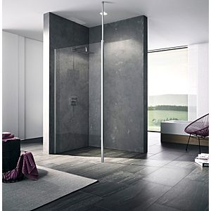 Kermi Xb glass system XBWDL12020VPK 121x200mm, silver high gloss, toughened safety glass clear, left