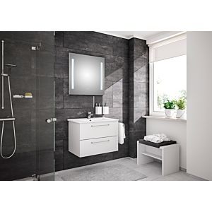 Artiqua Basic Bathroom furniture -Block Plus with LED light mirror 80811097505 75 cm, white high gloss, with Bathroom ceramics washbasin and Bathroom ceramics unit