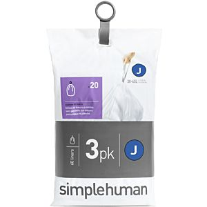 simplehuman Müllbeutel CW0259 60 Stück, für Sensorabfalleimer, passgenau, 30-45 l