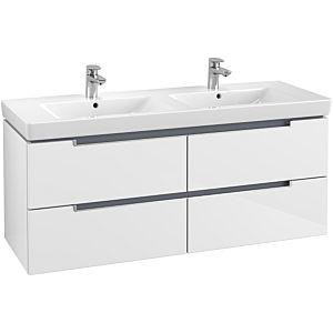 Villeroy & Boch Subway 2.0 Waschtischunterschrank A69900DH,128,7x52x44,9 cm,Glossy White,Griff matt