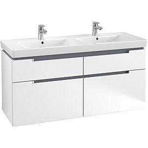 Villeroy & Boch Subway 2.0 Waschtischunterschrank A91700MS,128,7x59x44,9cm, Weiss Matt, Griff matt