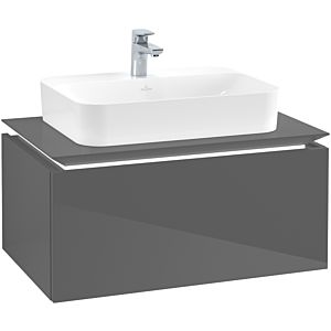 Villeroy & Boch Legato Waschtischunterschrank B753L0FP 80x38x50cm, mit LED-Beleuchtung, Glossy Grey