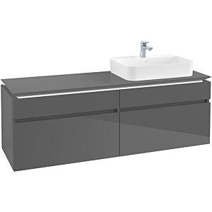 Villeroy & Boch Legato Waschtischunterschrank B766L0FP 160x55x50cm, mit LED-Beleuchtung, Glossy Grey