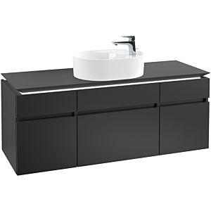 Villeroy & Boch Legato Waschtischunterschrank B776L0PD 140x55x50cm, mit LED-Beleuchtung, Black Matt Lacquer